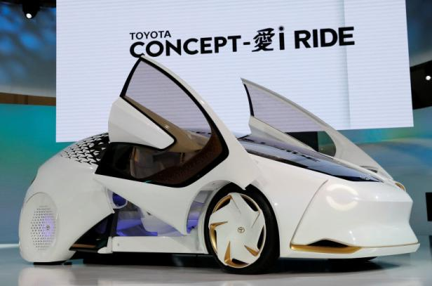 Toyota Motor Corp. displays the company's Concept-i Ride during media preview of the 45th Tokyo Motor Show in Tokyo